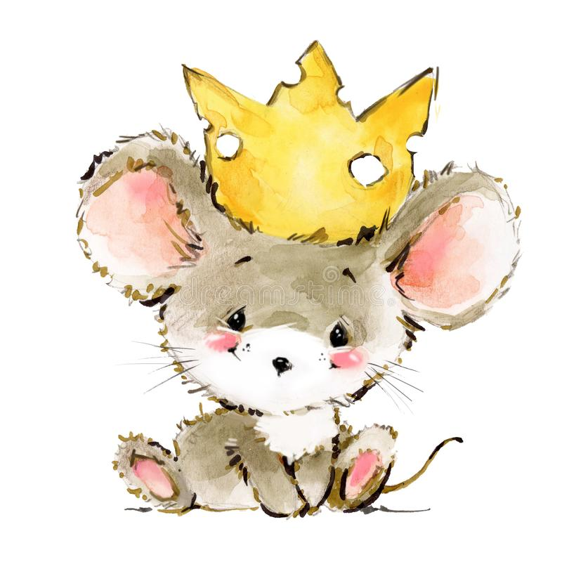 Cartoon mouse watercolor illustration. cute mice. Decorative mice watercolor illustration. home mouse royalty free illustration