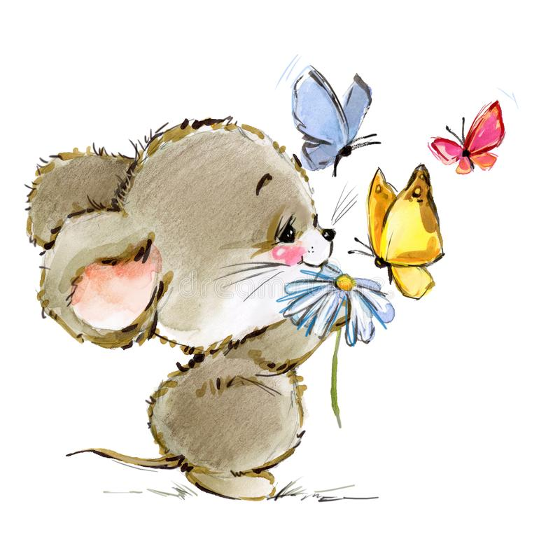 Cartoon mouse watercolor illustration. cute mice. Decorative mice watercolor illustration. home mouse stock illustration
