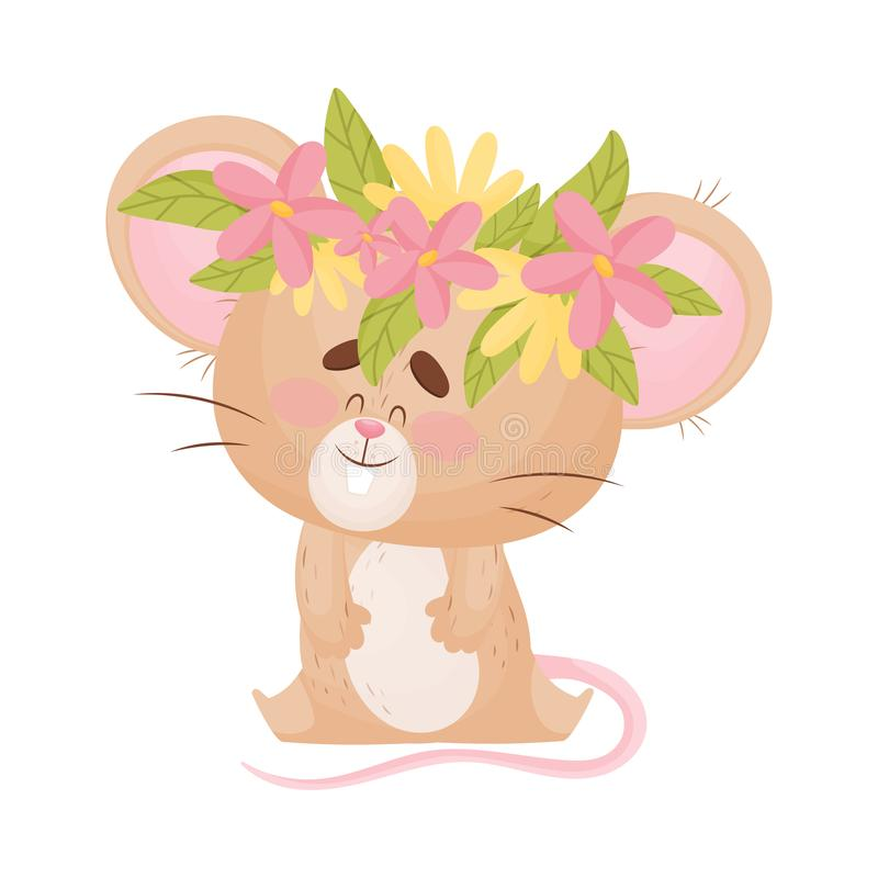 Cartoon mouse with a wreath of flowers on his head. Vector illustration. Cute humanized mouse sits with a wreath of yellow and pink flowers on its head. Vector stock illustration
