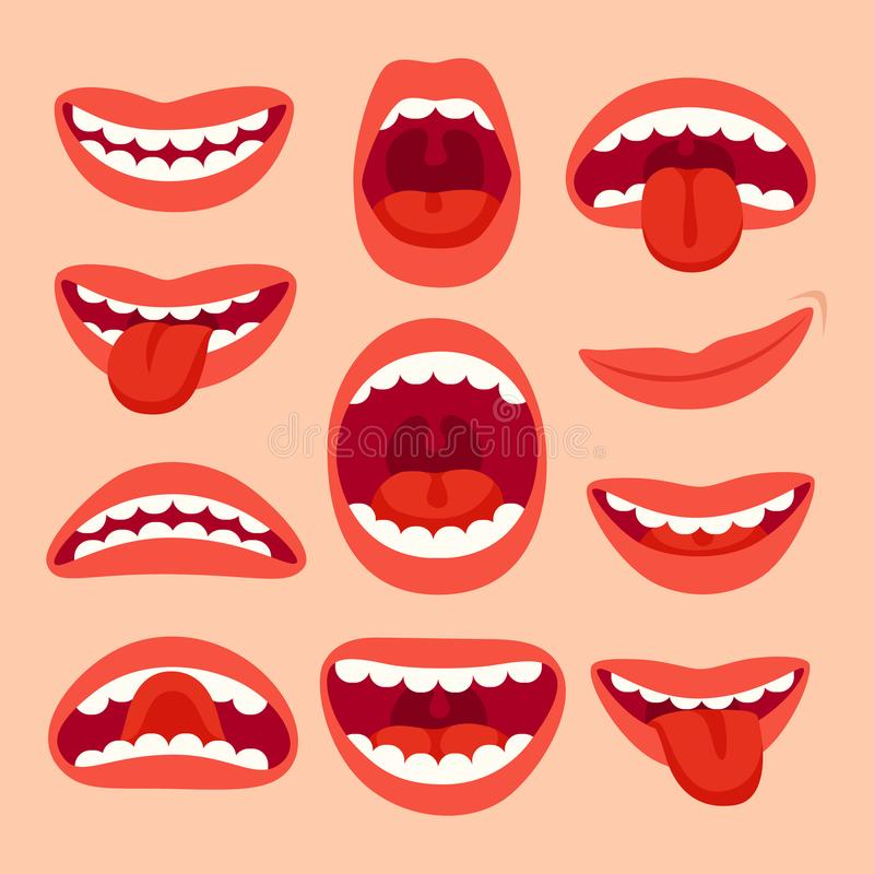 Cartoon mouth elements collection. Show tongue, smile with teeth, expressive emotions, smiling mouths and phonemes vector illustration