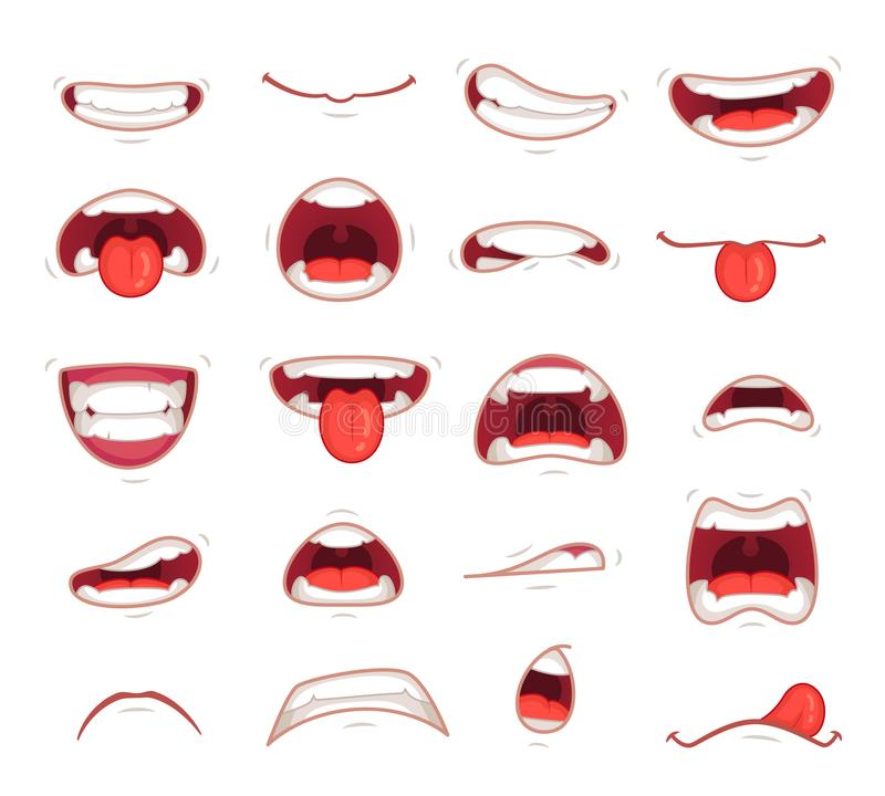 Cartoon mouths. Facial expression surprised mouth with teeth shock shouting smiling and biting lip vector illustration royalty free illustration