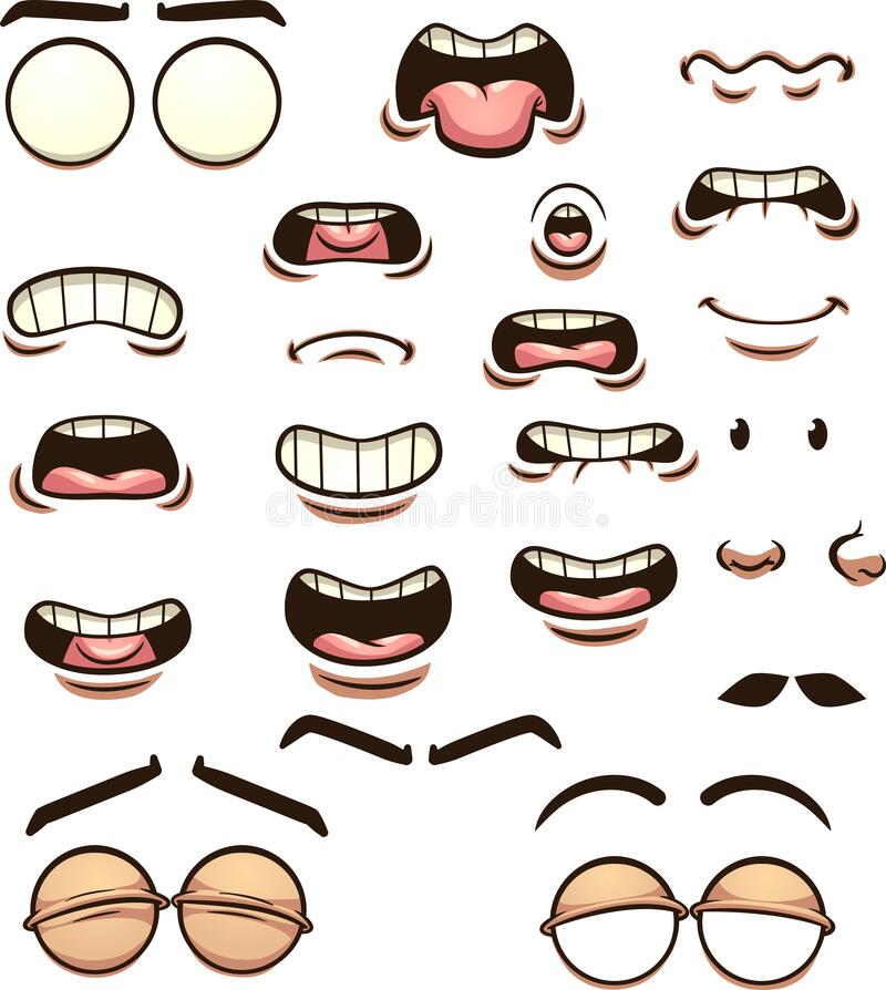 Free Cartoon Mouths Pronouncing Different Phonemes Stock Images - 205064434