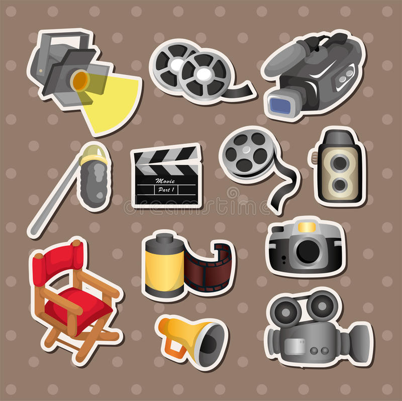 Free Cartoon Movie Equipment Icon Set Royalty Free Stock Photography - 26109587