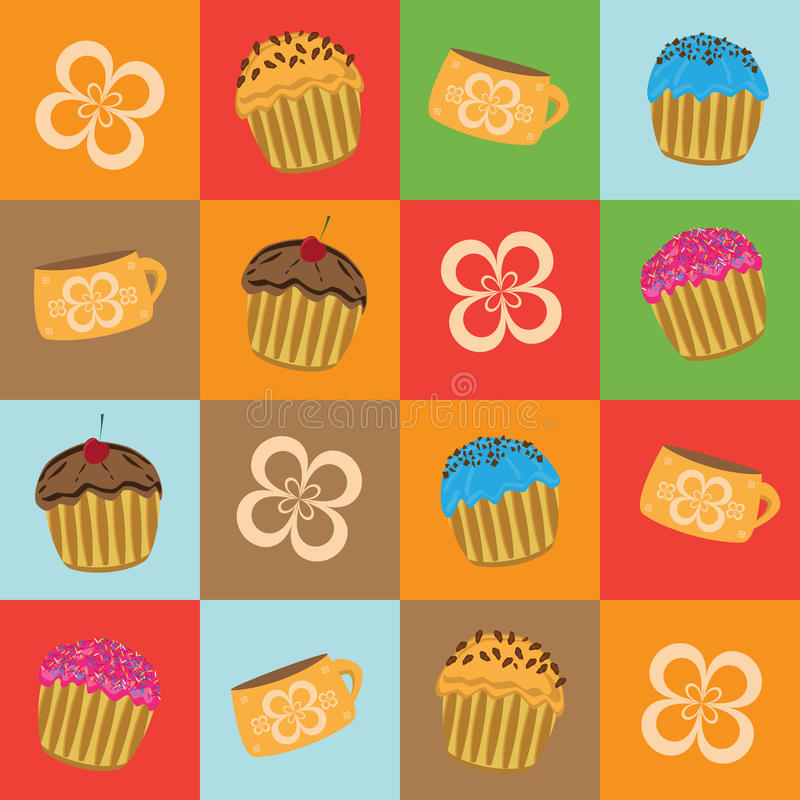 Cartoon muffins. Seamless pattern with muffins and cups on colorful background stock illustration