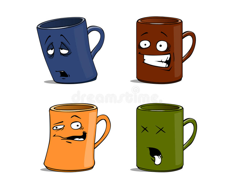Download Cartoon Mugs With Different Emotions The Isolated Stock Vector - Image: 11750142