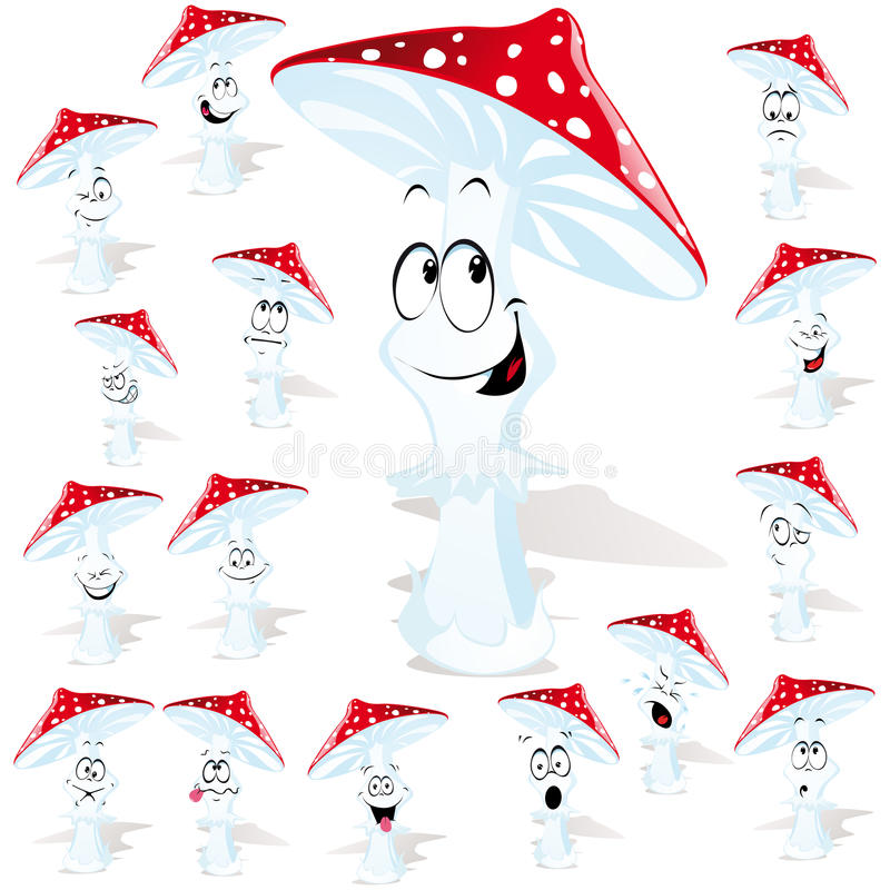 Download Cartoon Mushroom With Faces Stock Vector - Illustration of silly, many: 26653397