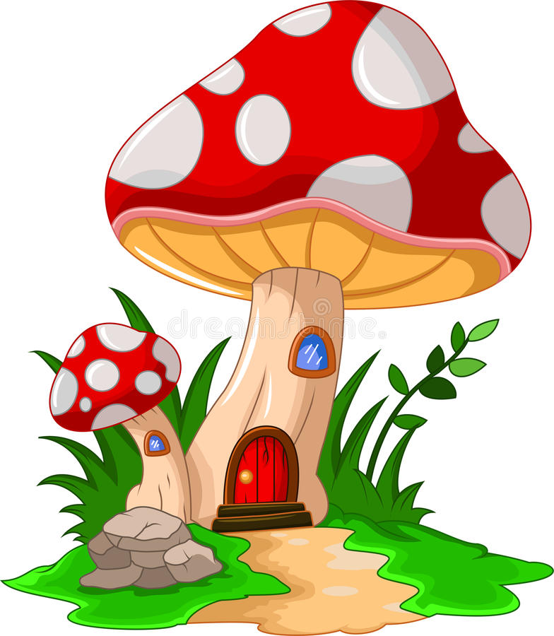 Free Cartoon Mushroom House For You Design Stock Image - 57322711