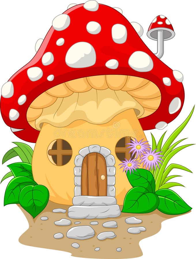 Download Cartoon mushroom house stock vector. Illustration of grass - 56089128