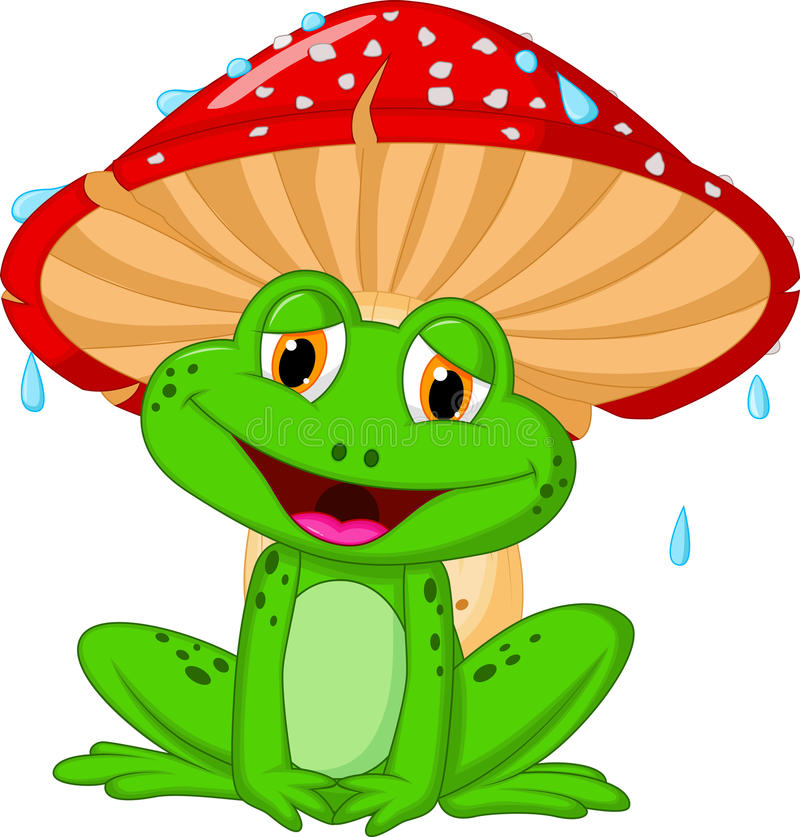 Cartoon Mushroom With A Toad Stock Vector - Illustration ...