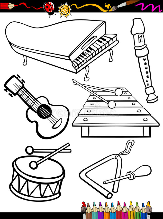 Cartoon Music Instruments Coloring Page Stock Vector Illustration Of Time Collection 33555369