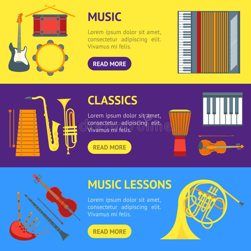 Cartoon Musical Insrtuments Banner Horizontal Set Vector royalty free illustration