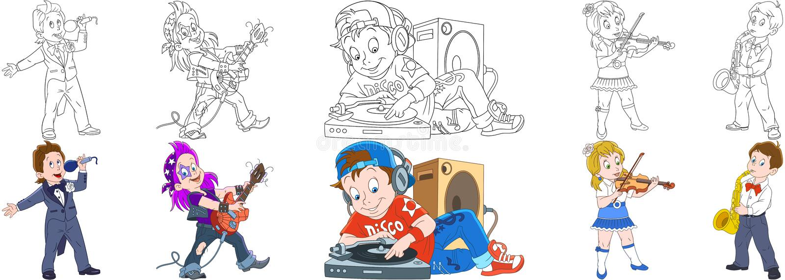 Cartoon musical professions set stock images