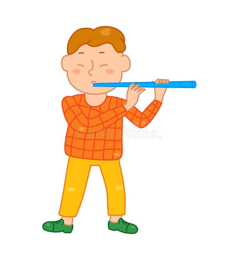 Cartoon musician kid. Vector illustration for children music. Boy on white background. Cute school musical student clip art. Flutist with flute instrument vector illustration