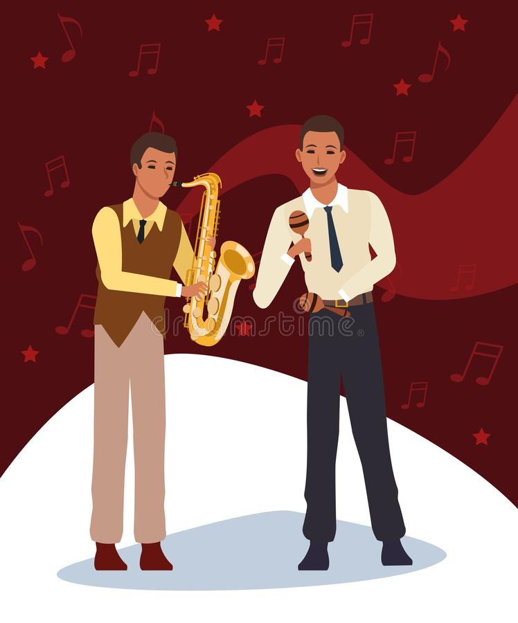 Cartoon musician with maracas and saxophonist, Jazz music band design royalty free illustration