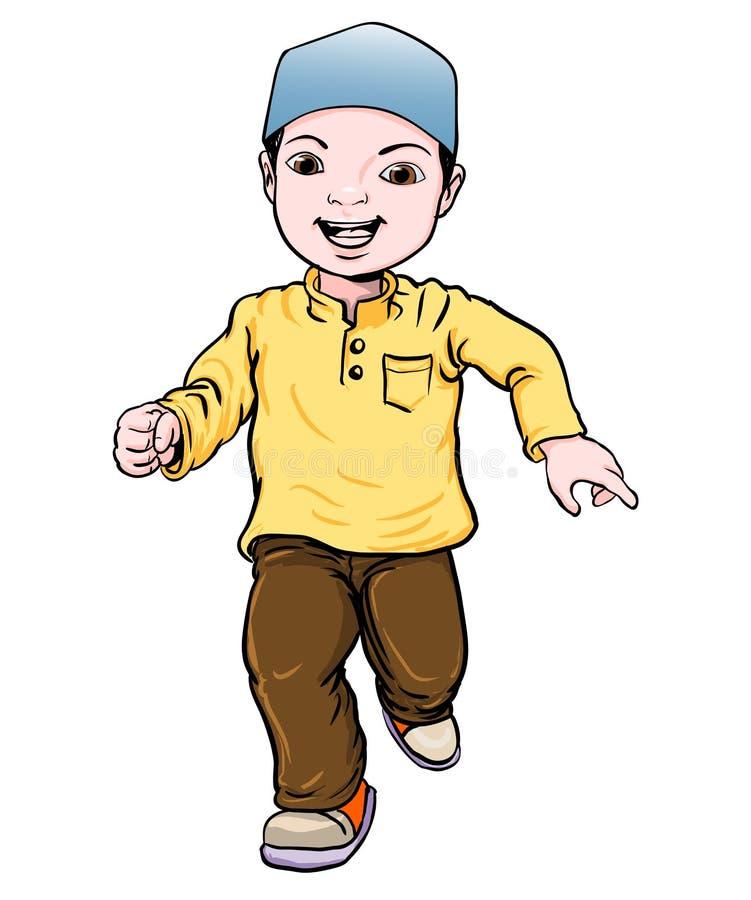 Cartoon of Muslim Boy make running -Vector Illustration stock illustration