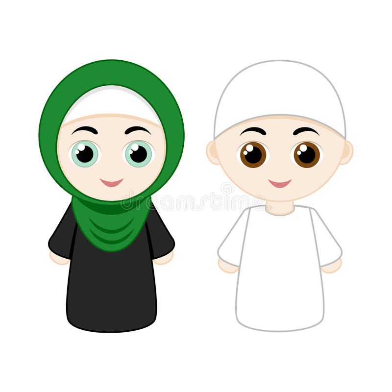 Cartoon muslim couple royalty free illustration