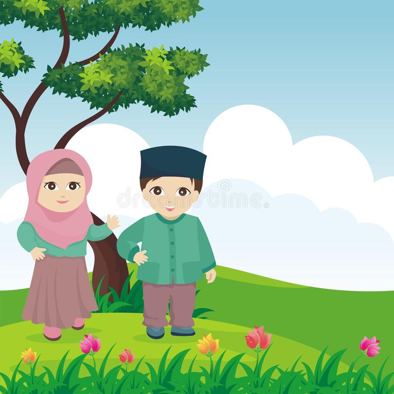 Cartoon Muslim - islamic kids with landscape royalty free stock photo