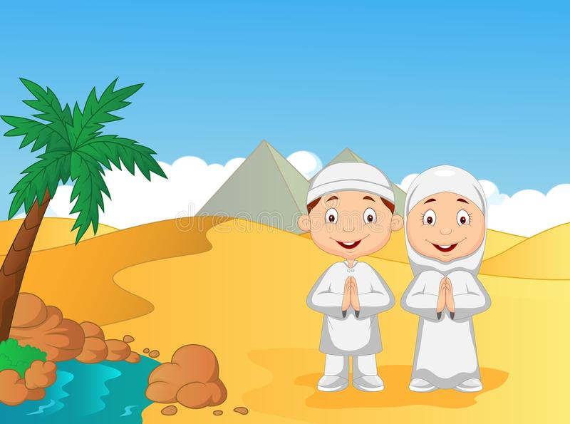 Cartoon Muslim kids with pyramid background vector illustration
