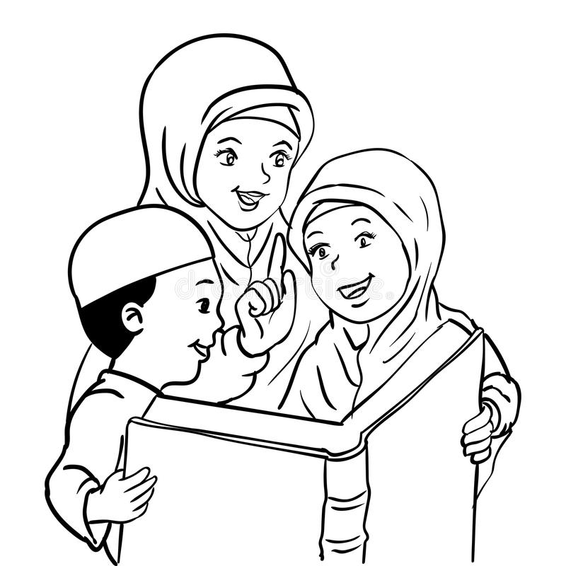 Cartoon Muslim Mather and Kids read book-Vector Illustration vector illustration