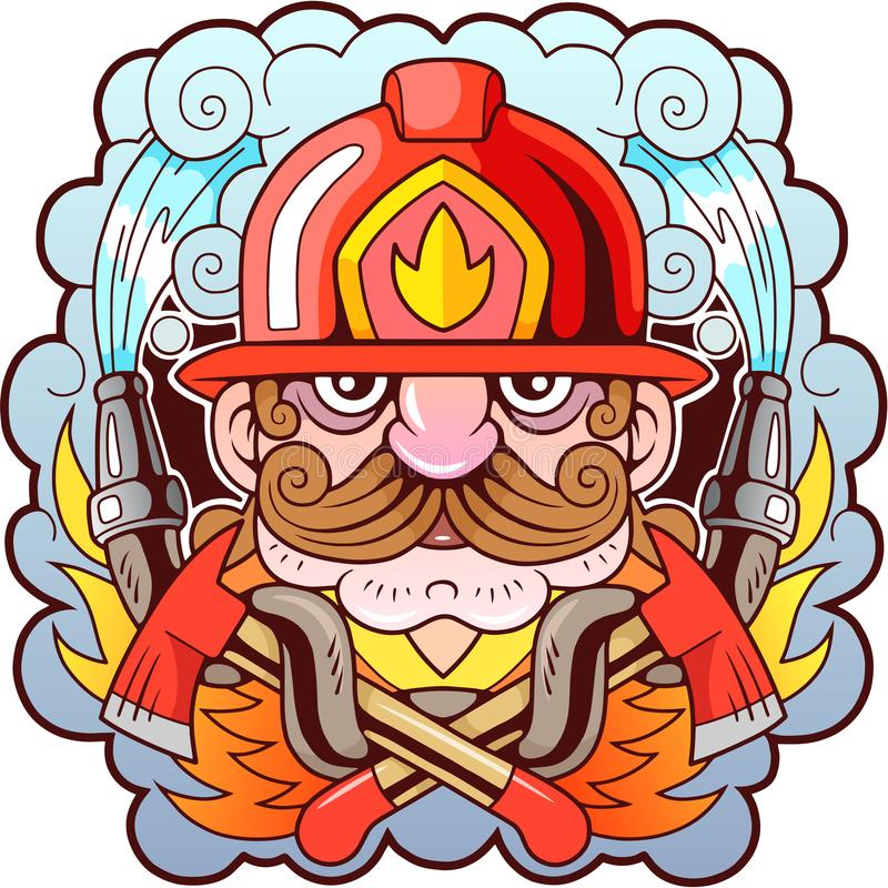 Mustache fireman, design, funny illustration, emblem royalty free illustration