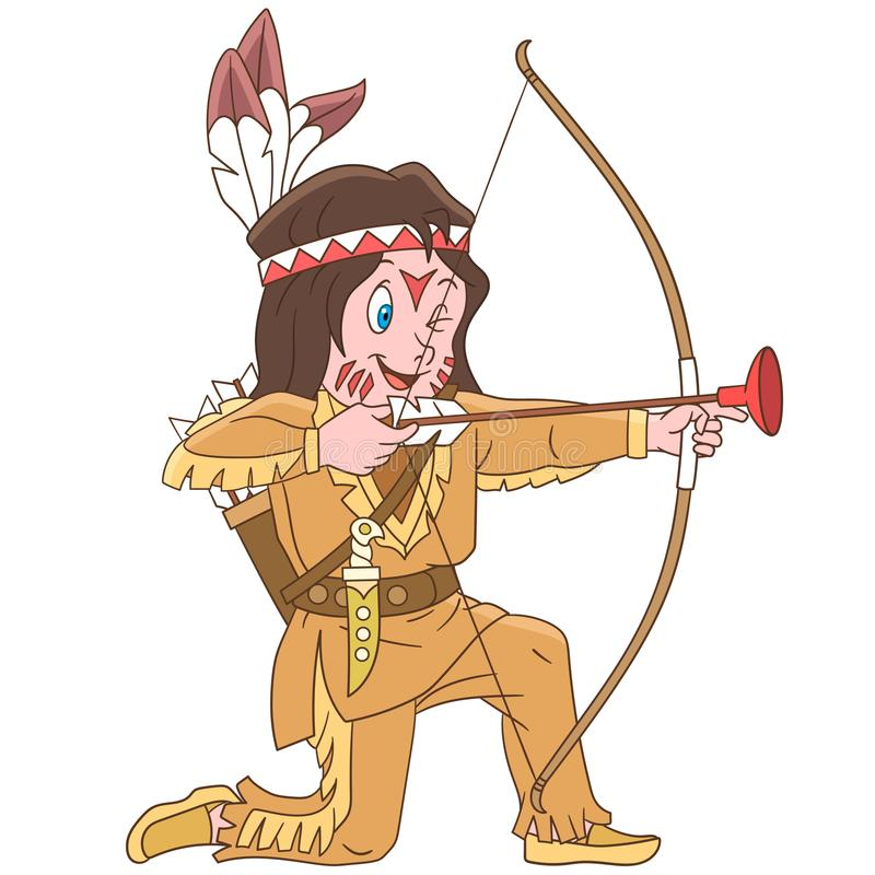 Cartoon native american indian boy royalty free stock images