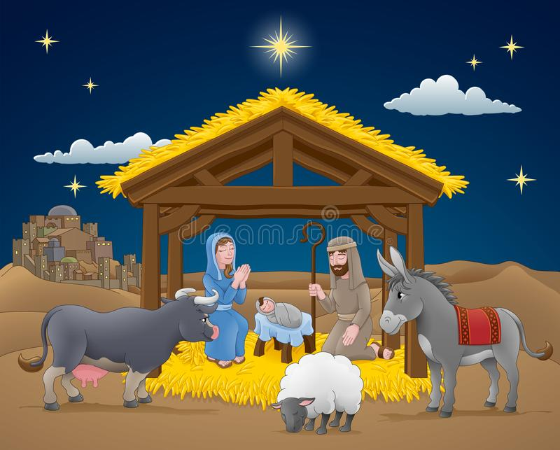 Cartoon Nativity Christmas Scene. A Christmas nativity scene cartoon, with baby Jesus, Mary and Joseph in the manger with donkey and other animals. The City of vector illustration