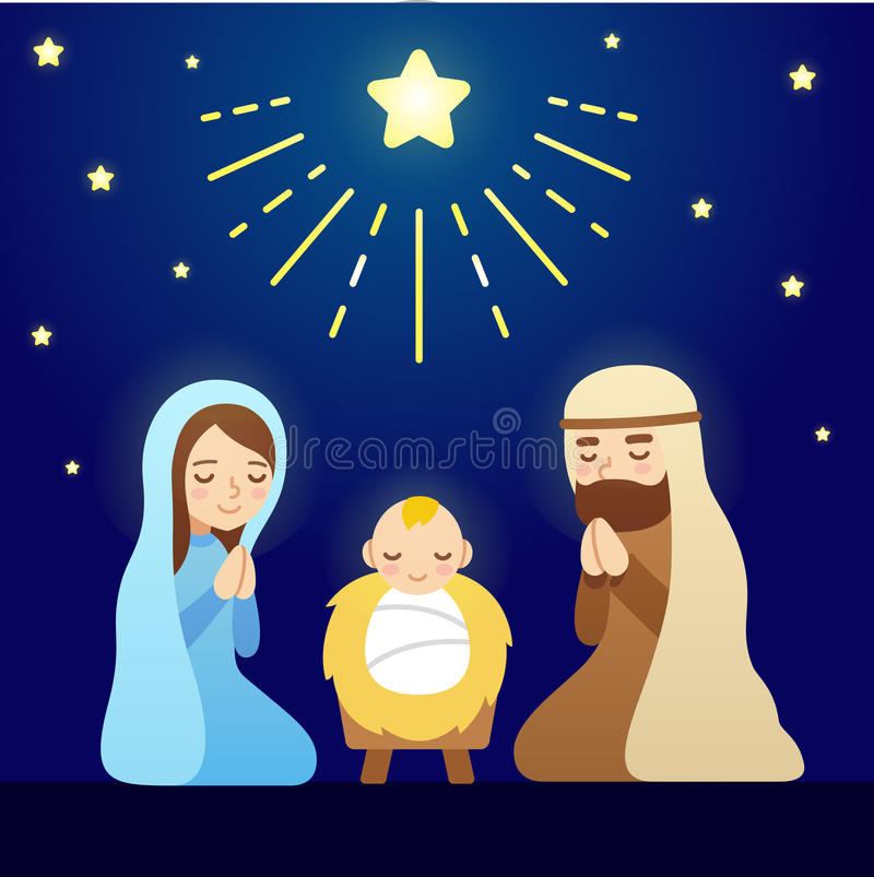 Cartoon Nativity Scene vector illustration