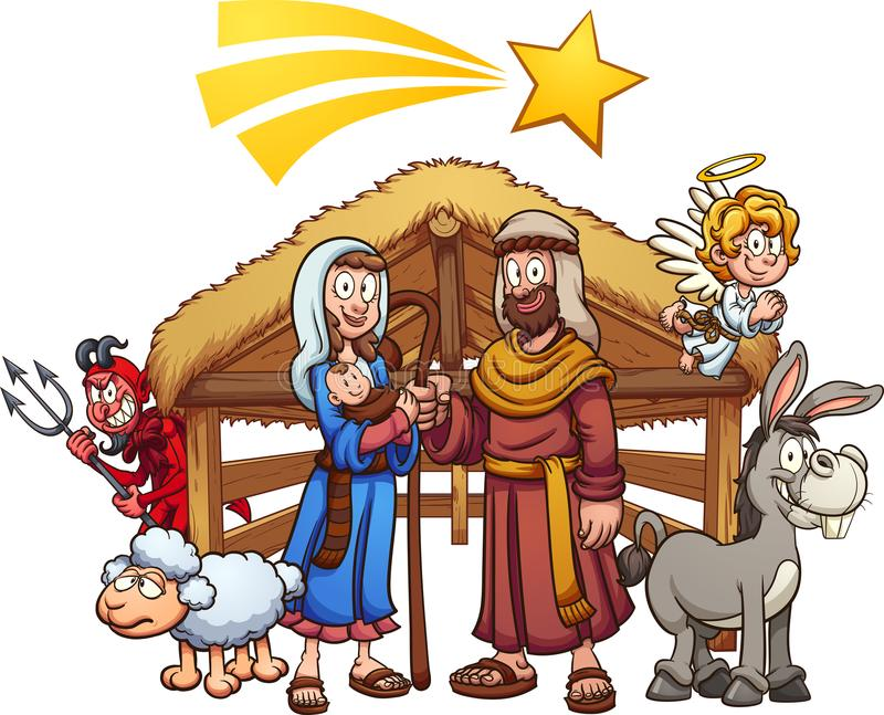 Cartoon nativity scene with shooting star vector illustration