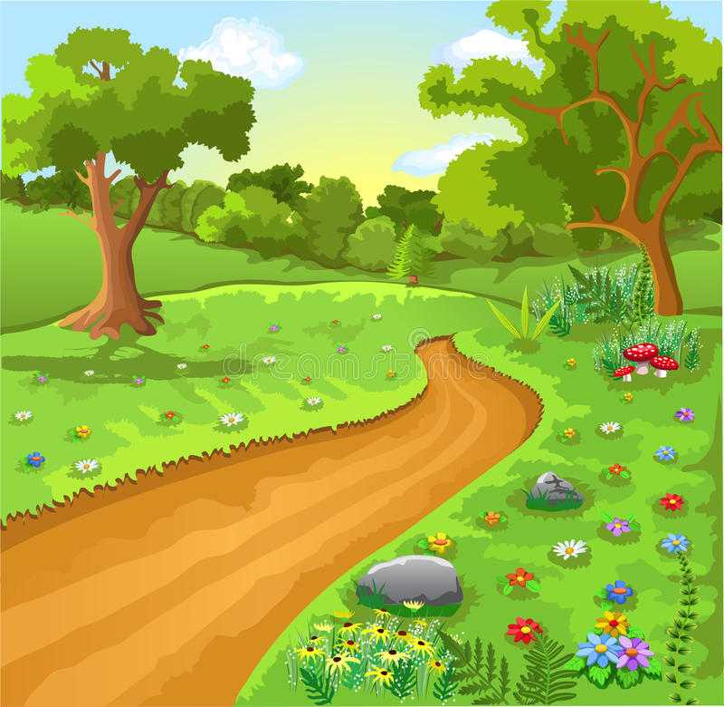 Cartoon natural landscape royalty free illustration
