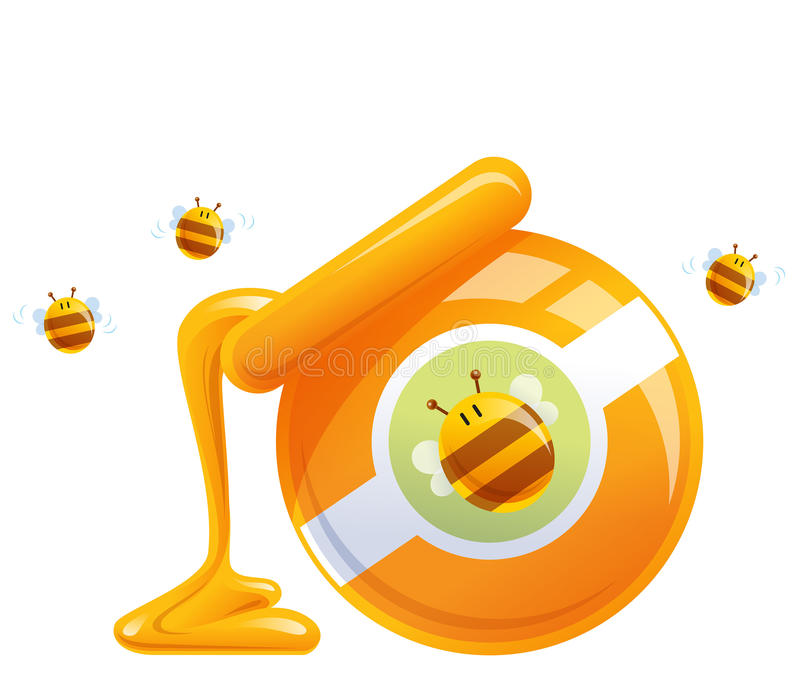 Cartoon natural orange honey in jar dropping and bees stock illustration