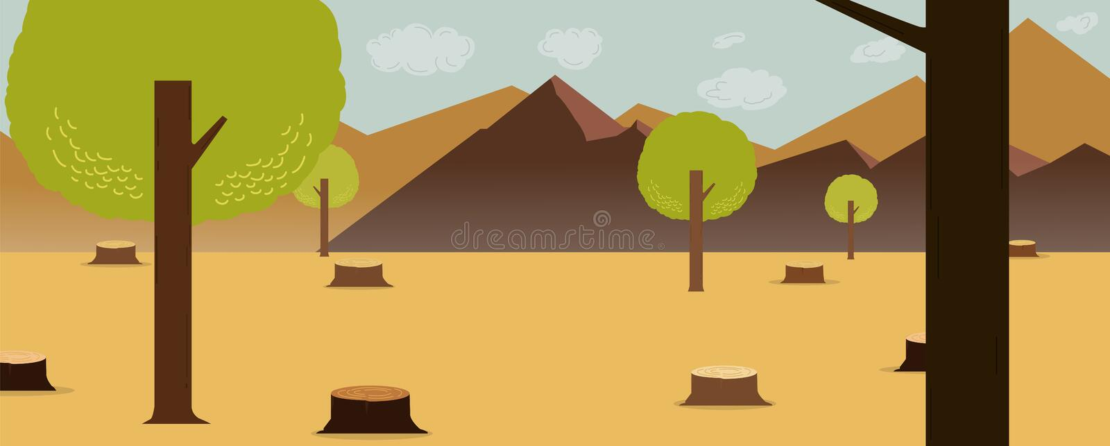 Cartoon nature deforest design with mountains and sky background.vector illustration.Deforest concept. vector illustration