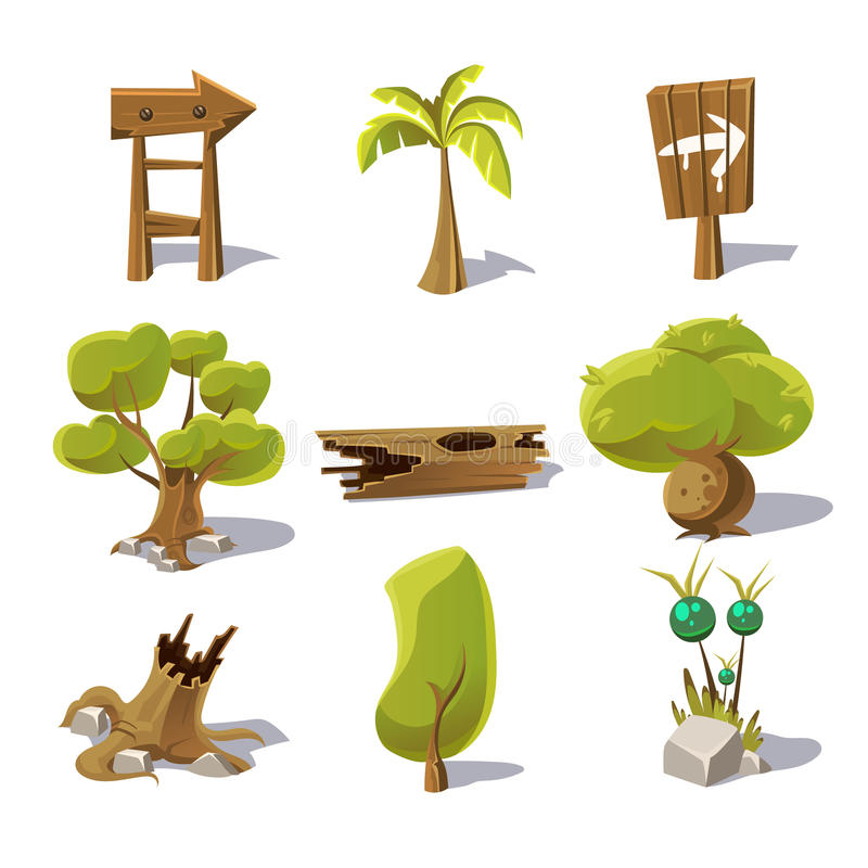 Cartoon nature elements, vector objects on white vector illustration