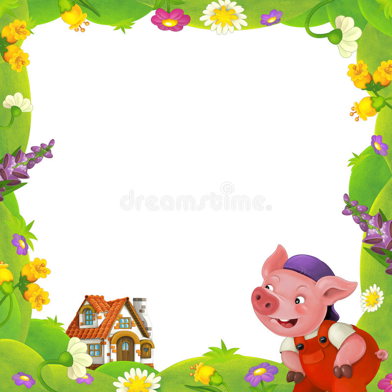 Cartoon nature floral frame little pig on the meadow and little farm house in the background with space for text. Happy and funny traditional illustration for stock illustration