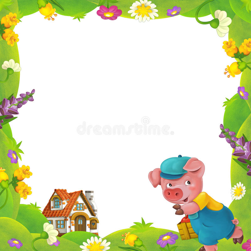 Cartoon nature floral frame little pig on the meadow and little farm house in the background with space for text. Happy and funny traditional illustration for royalty free illustration