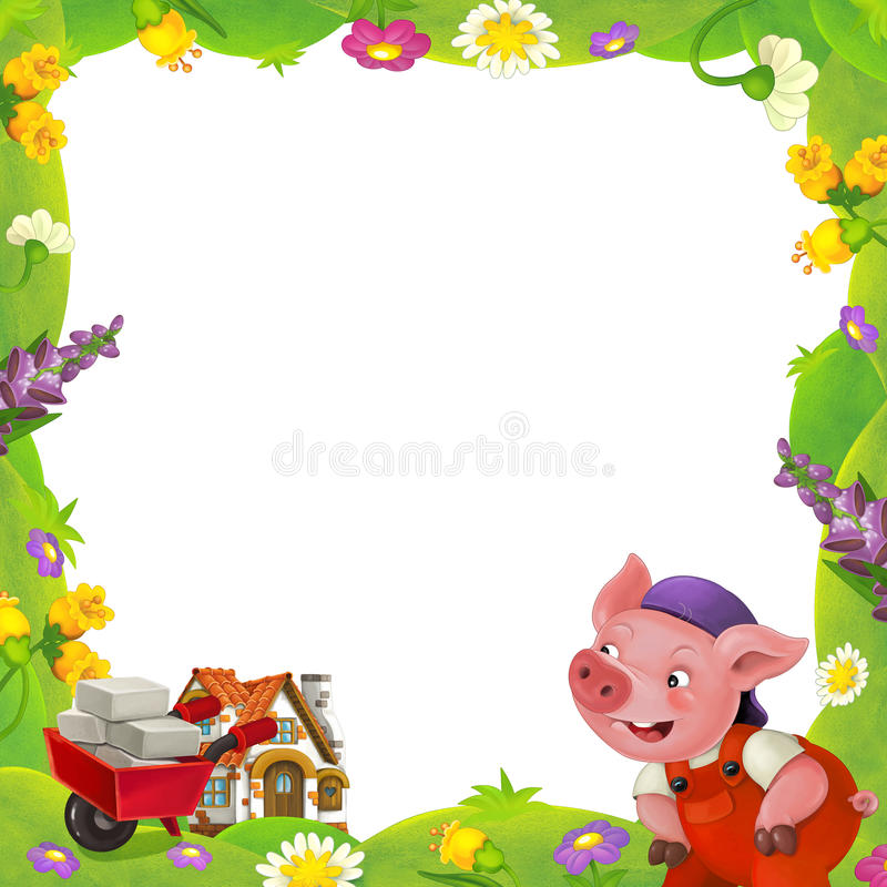 Cartoon nature floral frame little pig on the meadow and little farm house in the background with space for text. Happy and funny traditional illustration for vector illustration