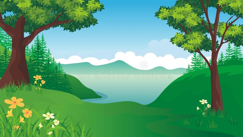 Cartoon Nature landscape with Beautiful scene royalty free illustration