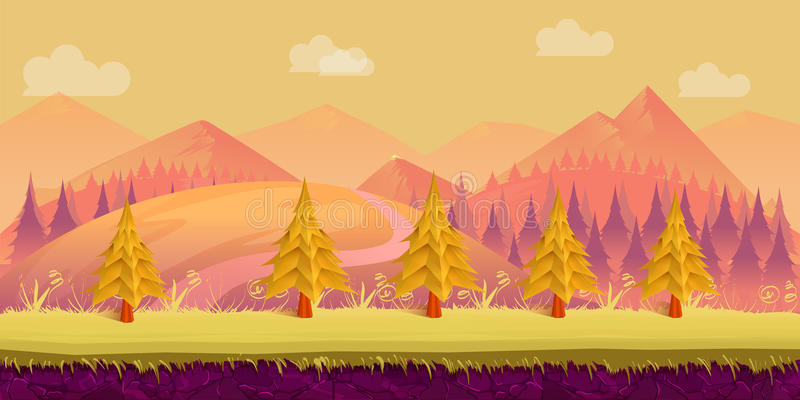 Cartoon nature landscape. Layered ground, grass, trees, mountains, clouds and sky. Cartoon nature landscape. Layered ground, grass, trees, Hills mountains clouds stock illustration