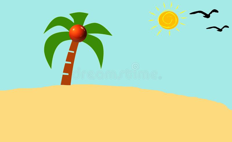 Cartoon nature landscape with palm tree in the desert and sun. Illustration. Bird, sunny, bright, wallpaper, sky, backdrop, background, surface, sea, beach royalty free stock photography
