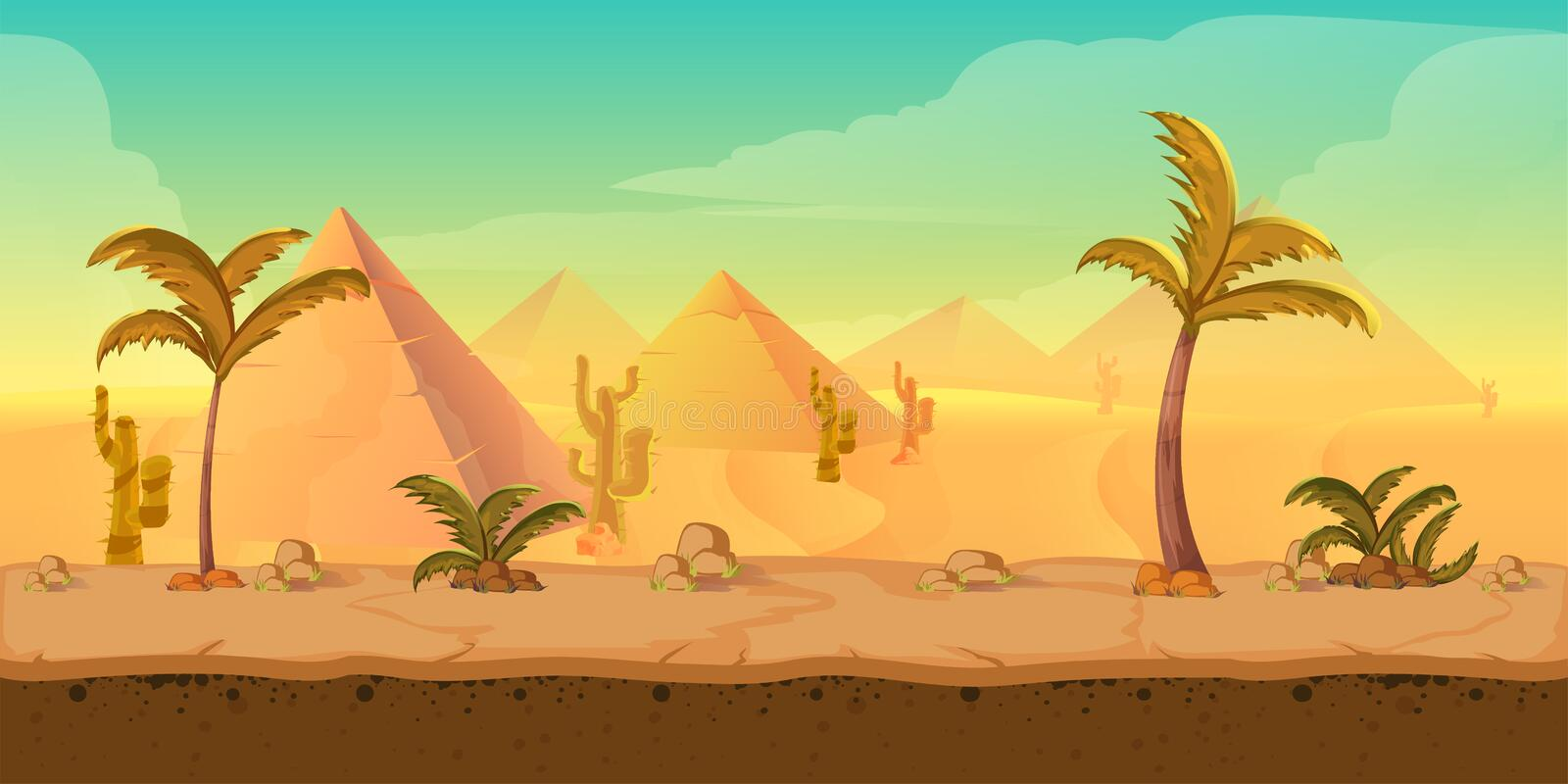 Cartoon nature sand desert landscape with palms, herbs and mountains. Vector game style illustration vector illustration