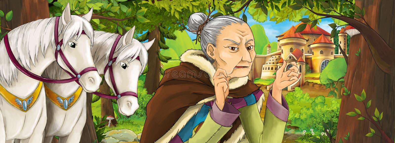 Cartoon nature scene with beautiful castle near the forest with old woman witch sorceress royalty free illustration