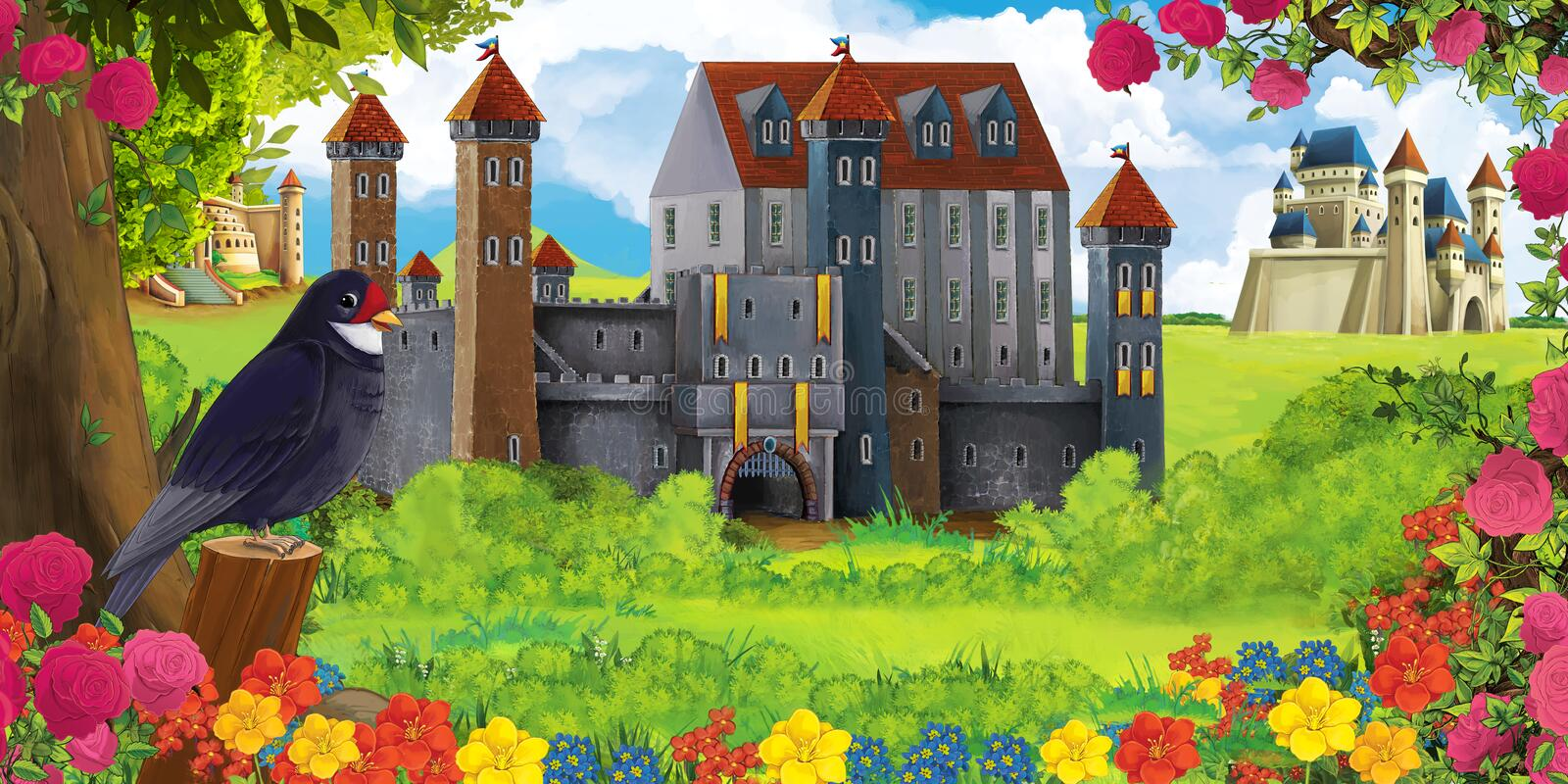 Cartoon nature scene with beautiful castles near the forest and resting cuckoo bird vector illustration