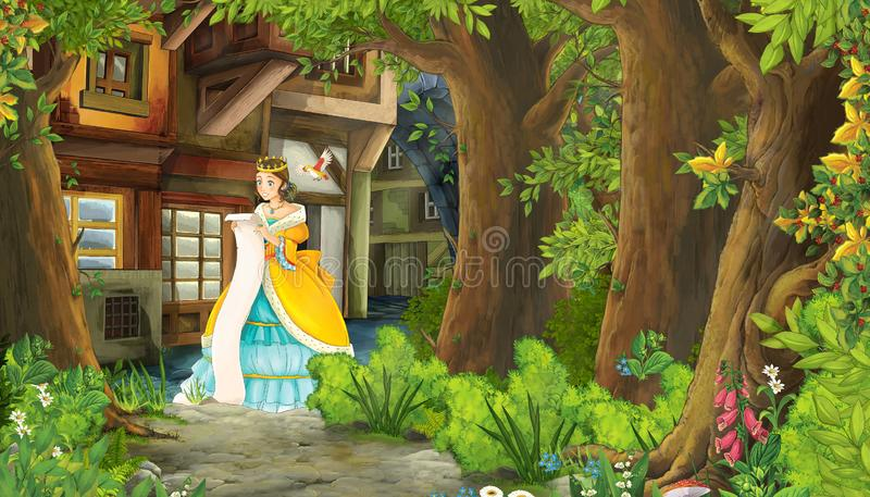 Cartoon nature scene with medieval city street and with beautiful girl princess standing and reading royalty free illustration
