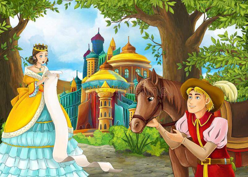 Cartoon nature scene with prince and princess and on journey royalty free stock images