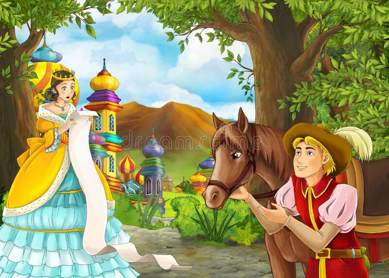 Cartoon nature scene with prince and princess and on journey royalty free stock image