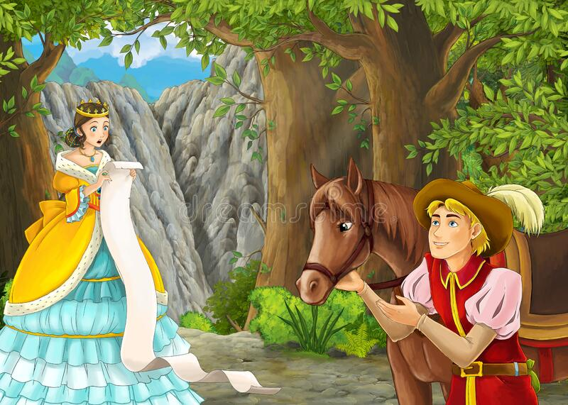 Cartoon nature scene with prince and princess and on journey stock photos