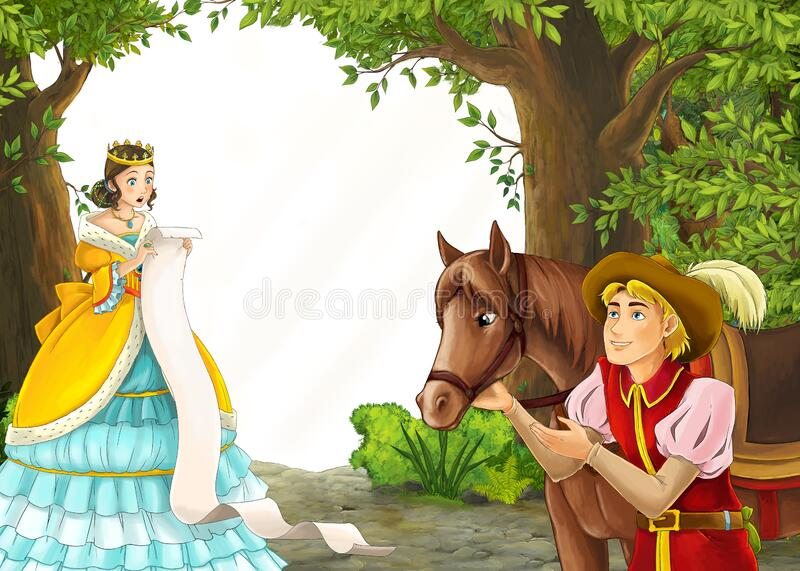 Cartoon nature scene with prince and princess and on journey stock images
