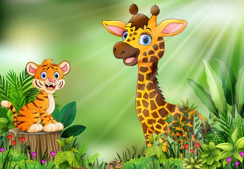 Cartoon of the nature scene with a tiger sitting on tree stump and giraffe vector illustration