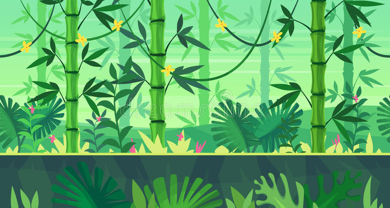 Cartoon nature seamless landscape with jungle stock illustration