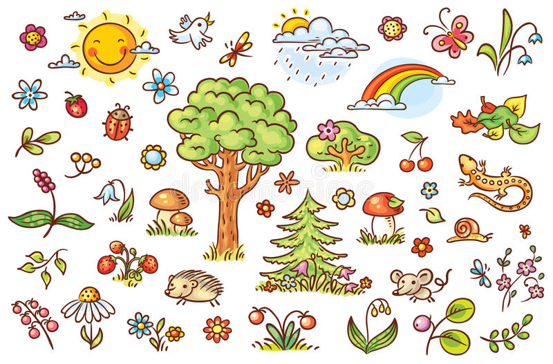 Cartoon nature set with trees, flowers, berries and small forest animals stock illustration