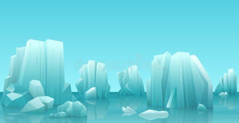 Cartoon nature winter arctic ice landscape with iceberg, snow mountains rocks hills. Vector game style illustration. stock illustration